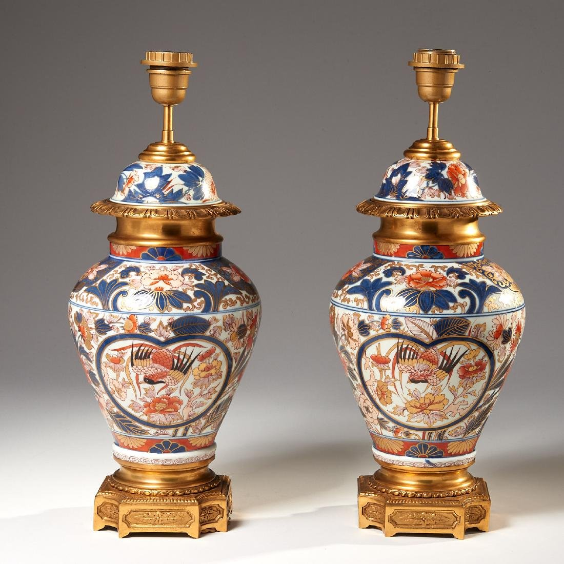 Pair Japanese Imari ormolu mounted lamps
