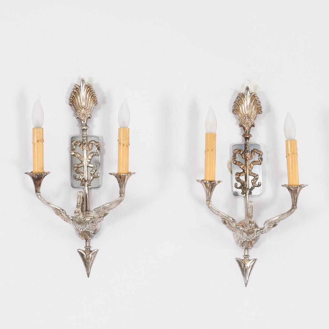 Pair Empire style silver plated swan sconces