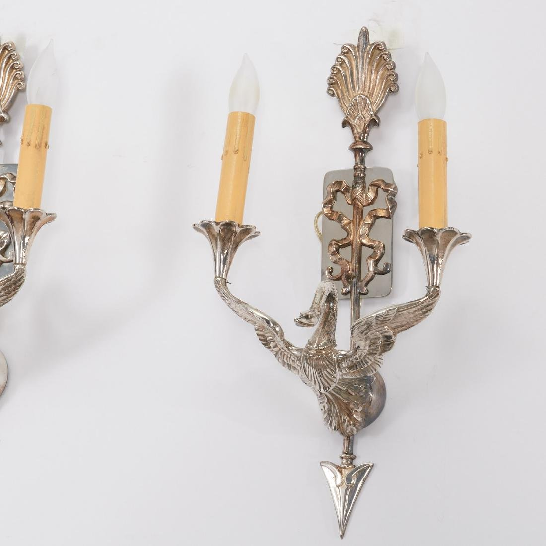 Pair Empire style silver plated swan sconces - 2