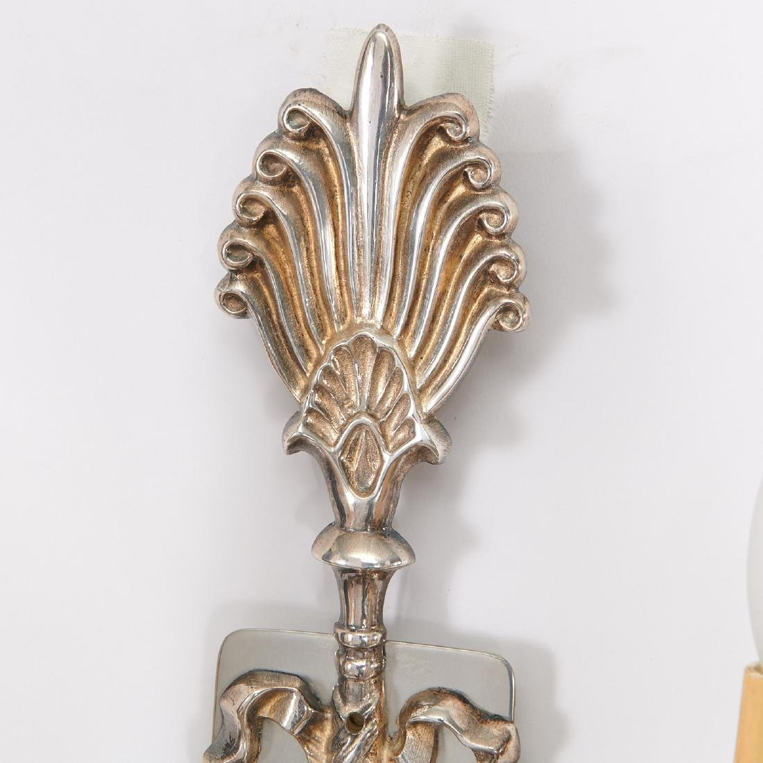 Pair Empire style silver plated swan sconces - 5