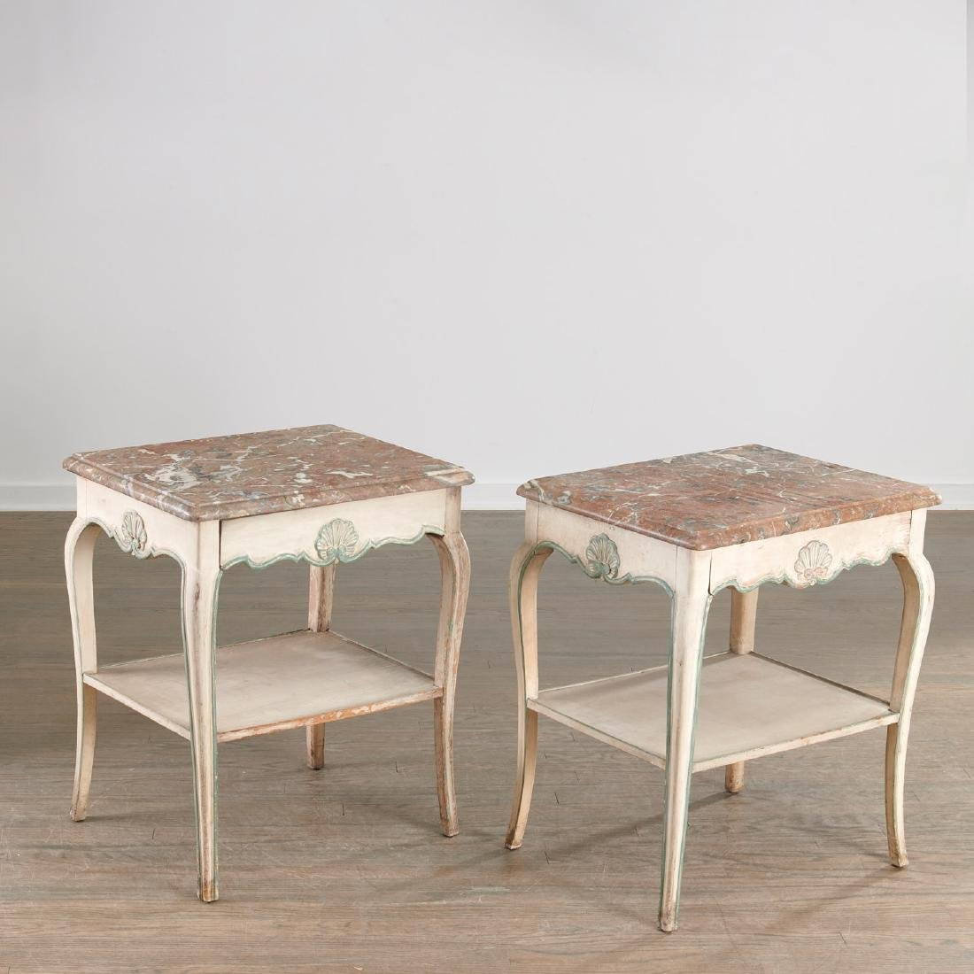 Pair Louis XV style painted side tables