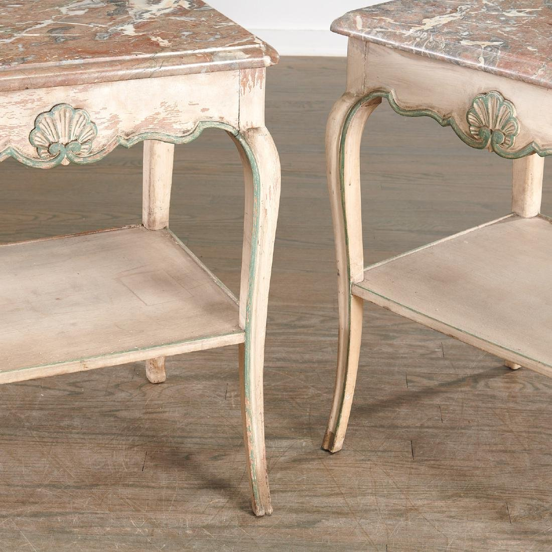 Pair Louis XV style painted side tables - 4