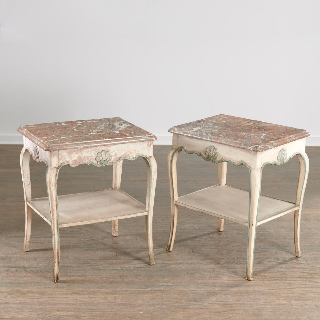 Pair Louis XV style painted side tables - 5