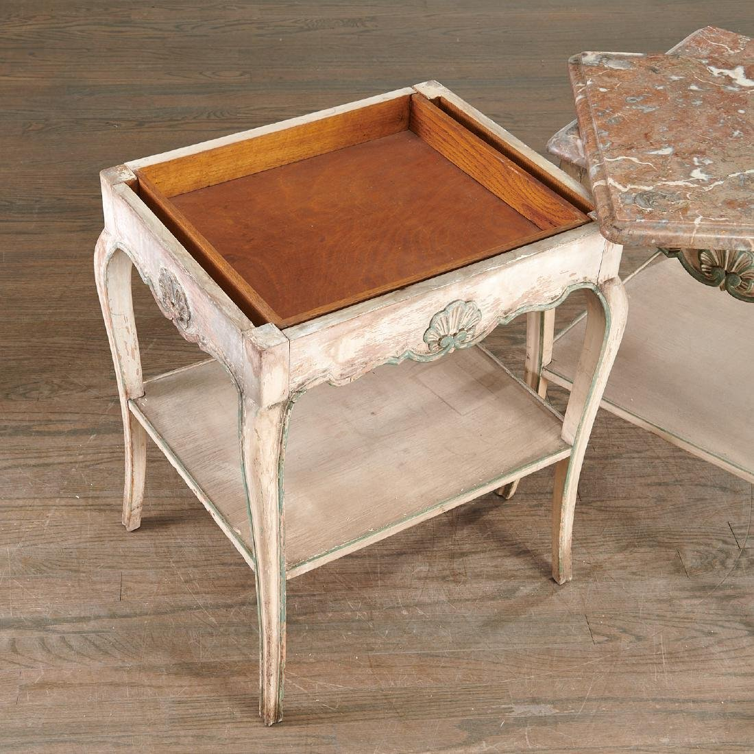 Pair Louis XV style painted side tables - 7