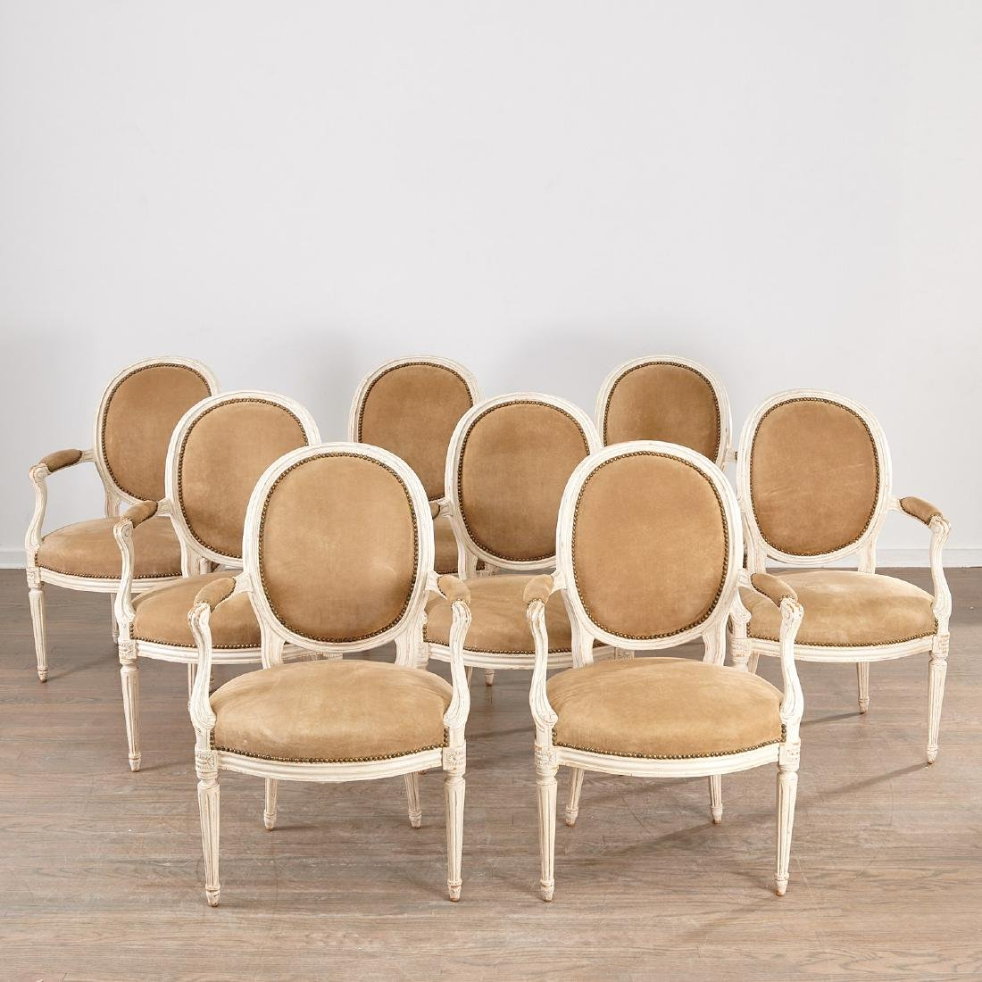 Set (8) Louis XVI style fauteuils