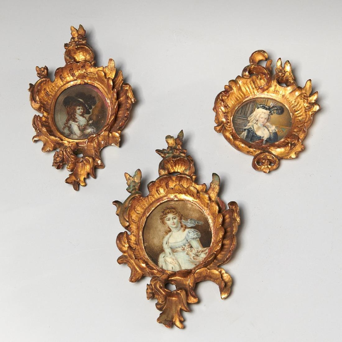 (3) French portrait miniatures of Court Ladies