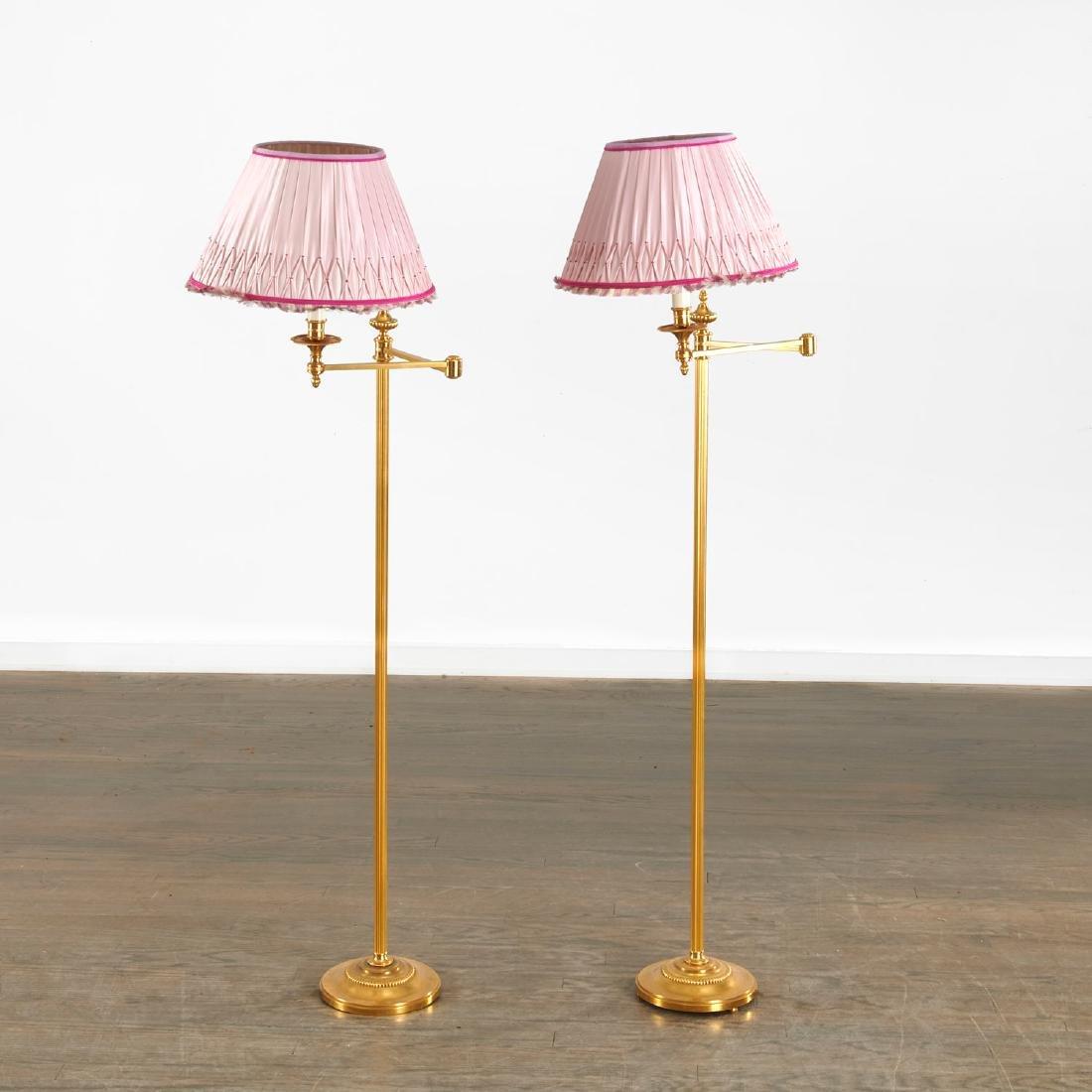 Quality pair bronze swing arm floor lamps