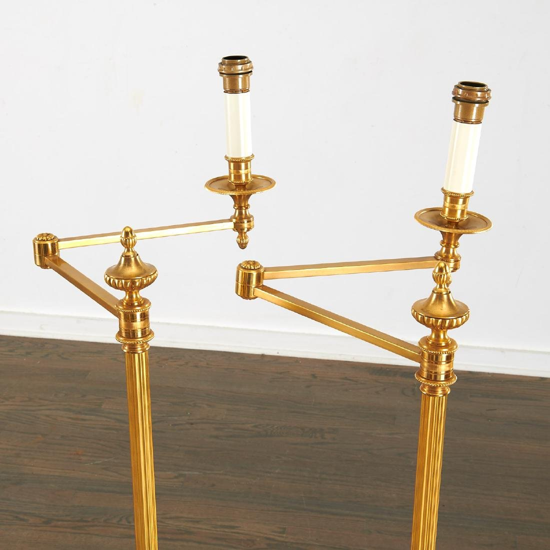 Quality pair bronze swing arm floor lamps - 3