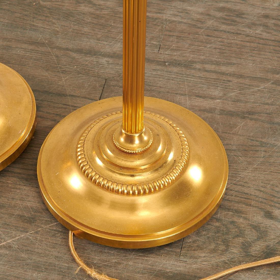 Quality pair bronze swing arm floor lamps - 5