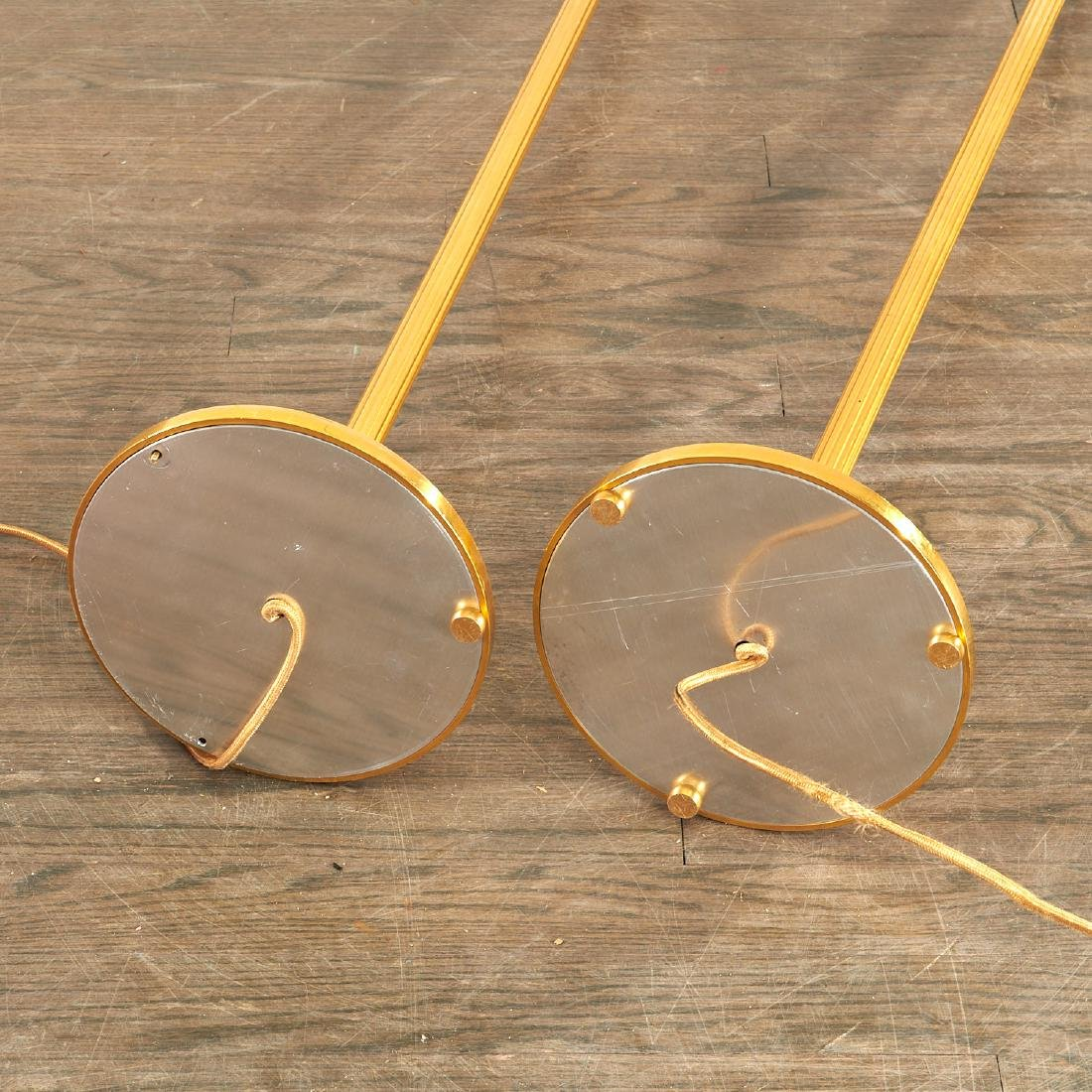 Quality pair bronze swing arm floor lamps - 6