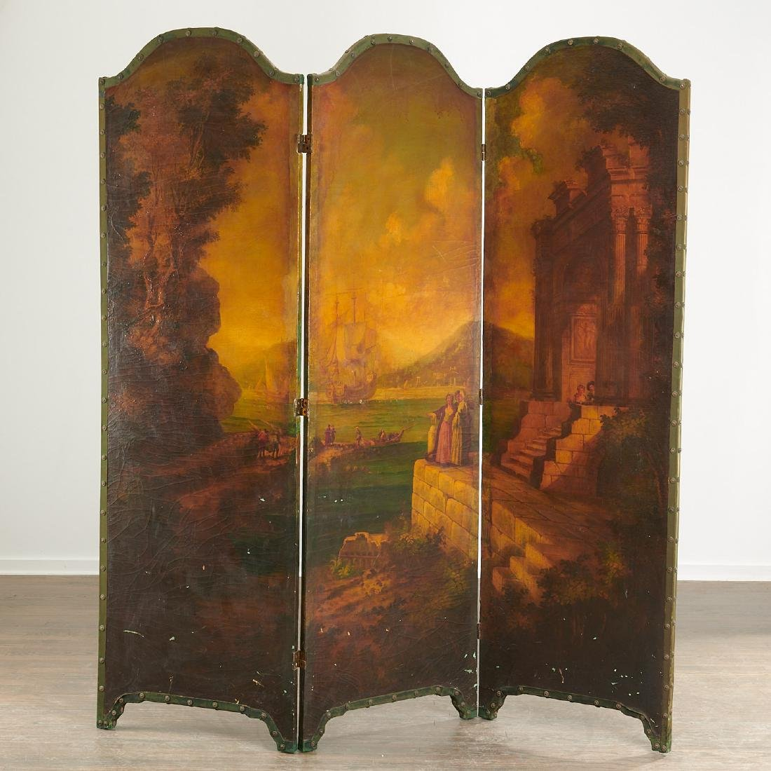 Old Master School, painted 3-panel screen