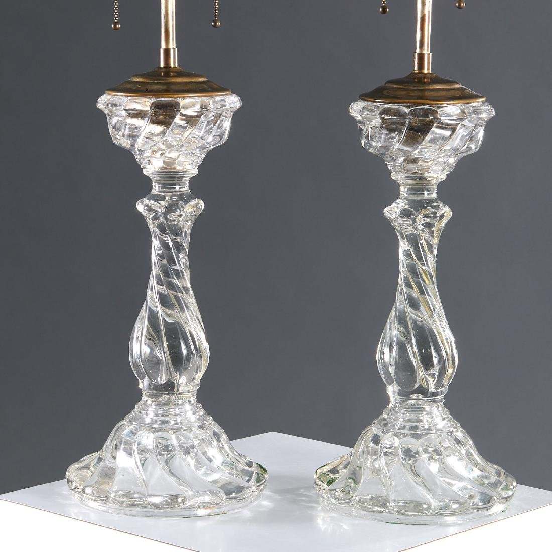 Pair Baccarat glass candlestick lamps