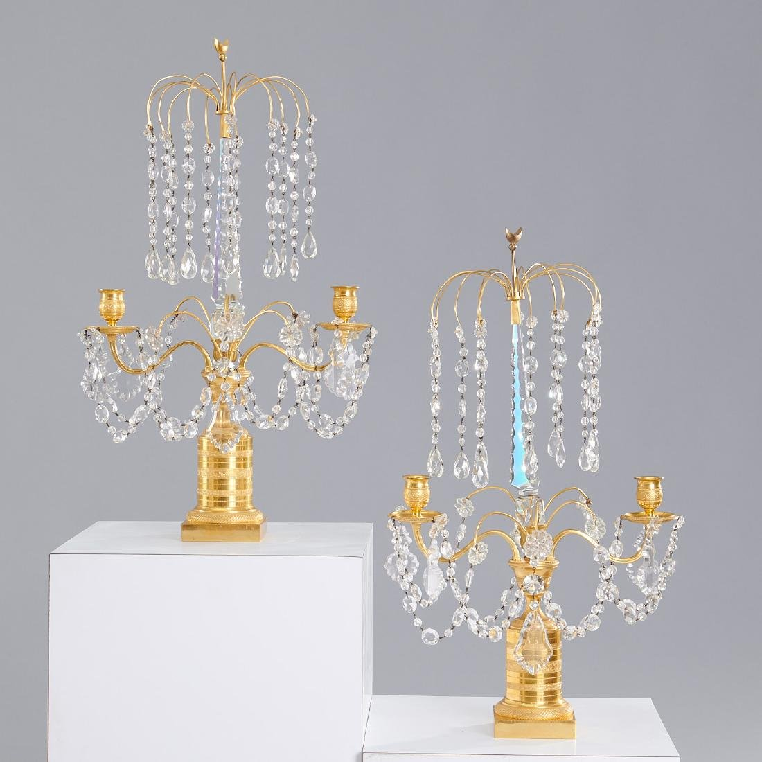 Pair Baltic Neo-Classical style two-arm candelabra