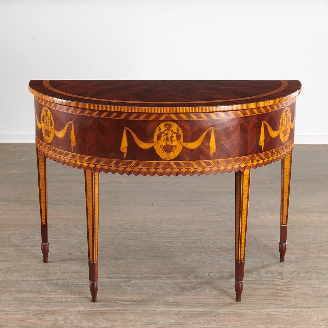 Alfonso Marina parquetry demilune table