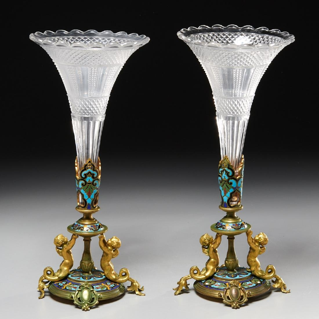 Pair Napoleon III champleve enamel and glass vases