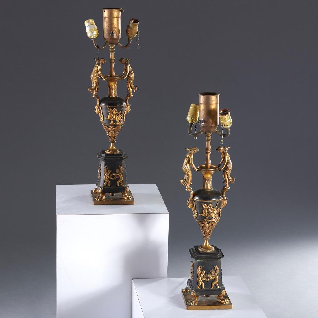 Pair French Empire style table lamps