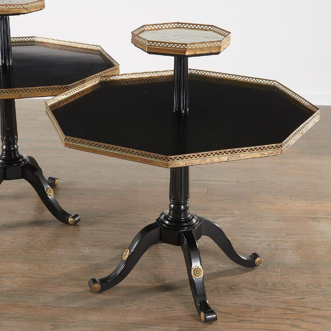 Pair Maison Jansen style tiered side tables