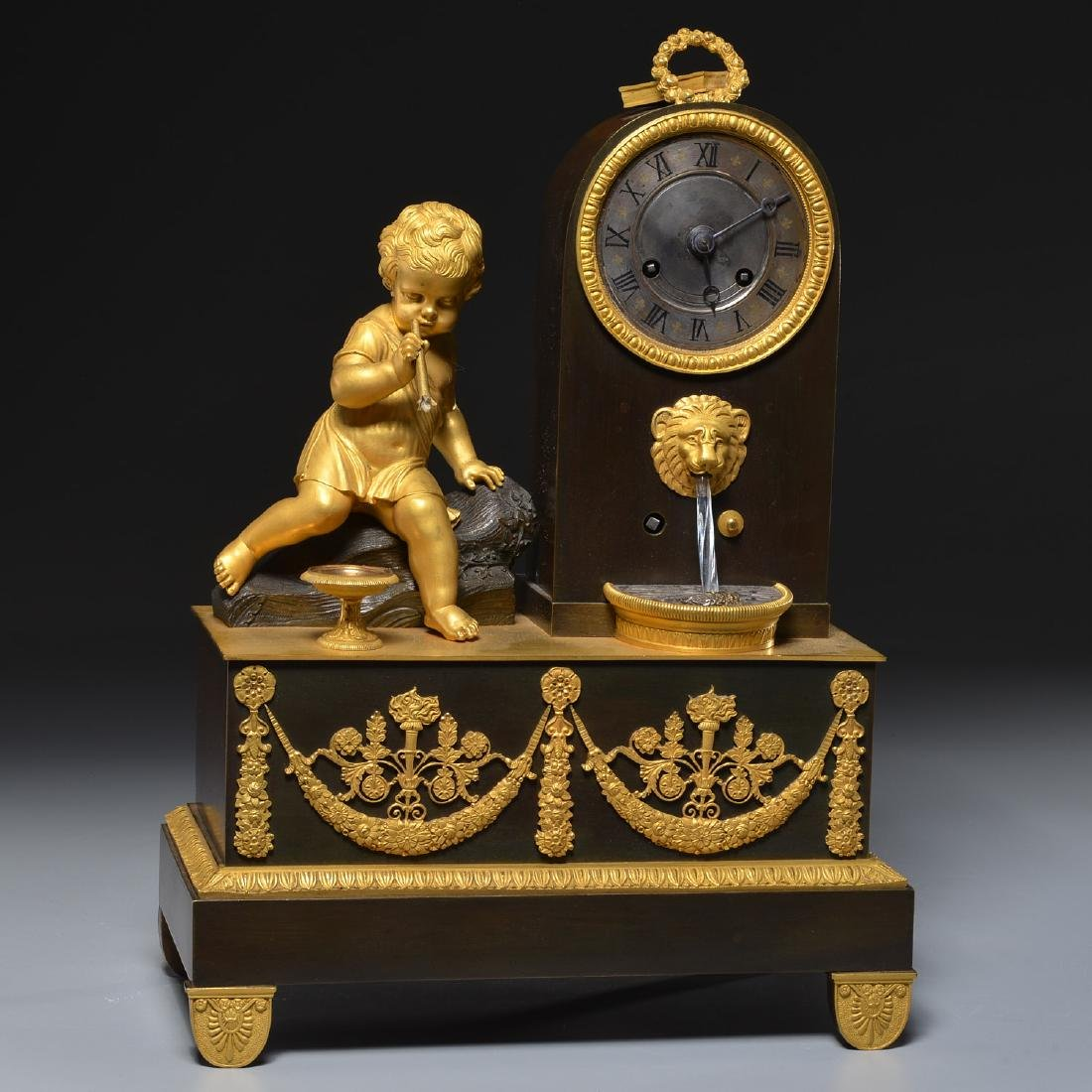 Charles X bronze animated fountain mantel clock