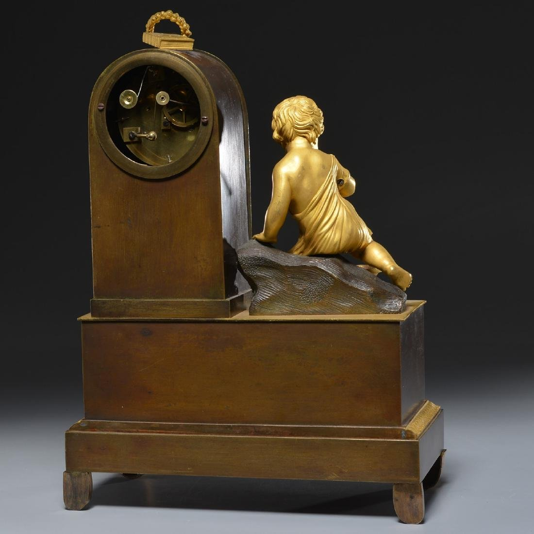 Charles X bronze animated fountain mantel clock - 7