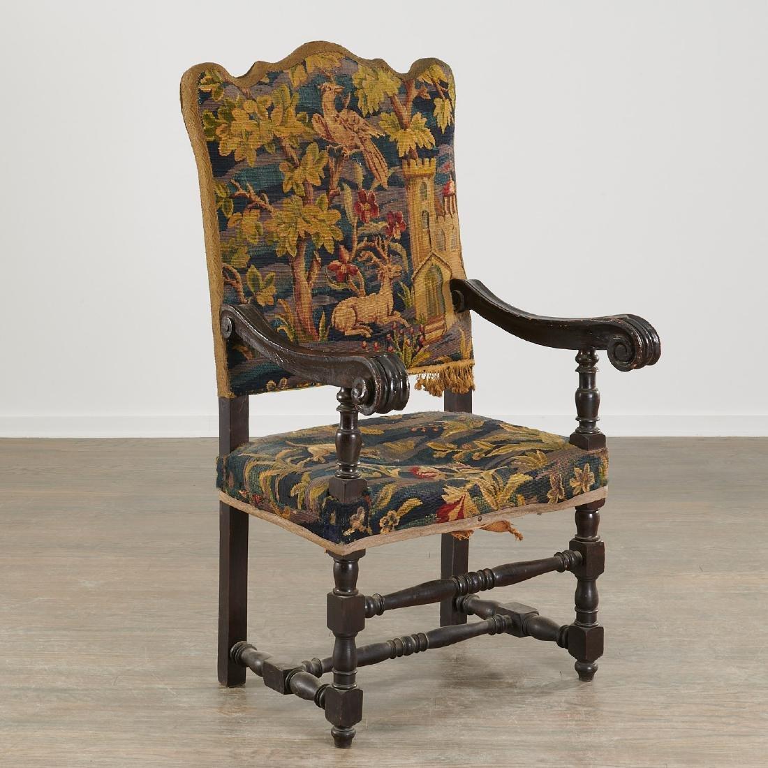 Flemish Baroque verdure tapestry armchair
