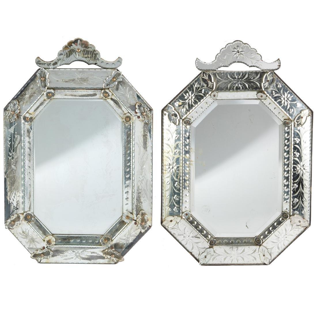 Harlequin pair Venetian style glass mirrors