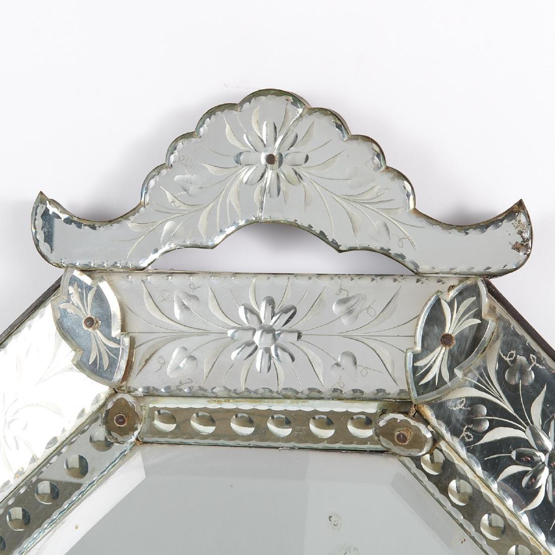 Harlequin pair Venetian style glass mirrors - 2