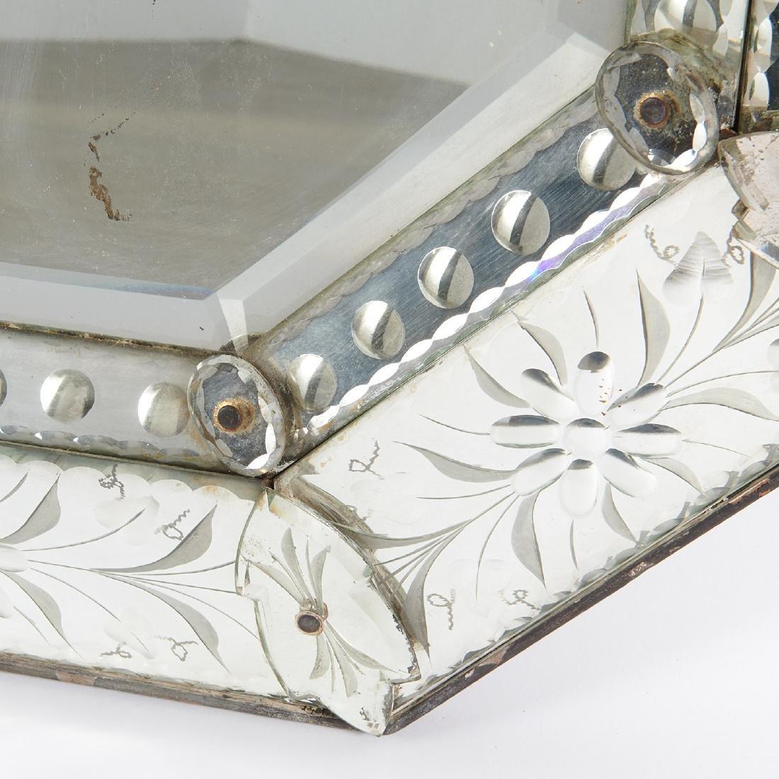 Harlequin pair Venetian style glass mirrors - 4