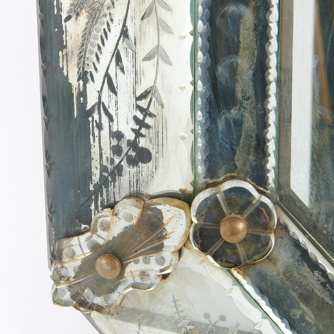 Harlequin pair Venetian style glass mirrors - 9