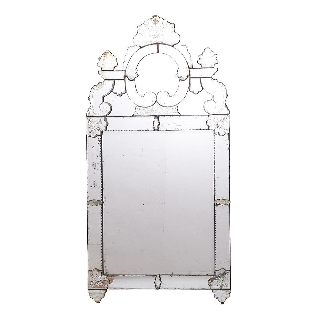 Large old Venetian Glass Mirror