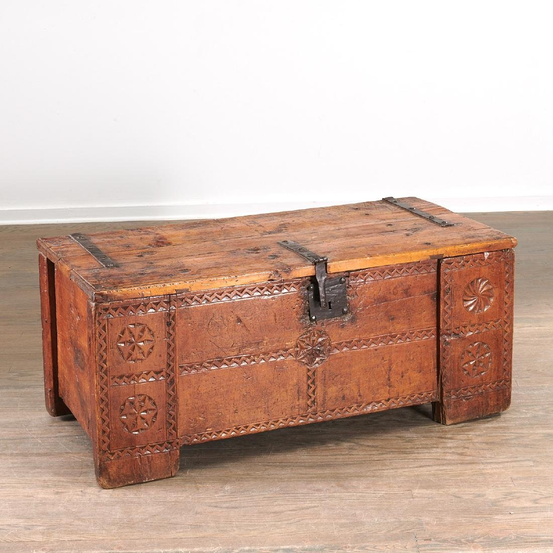 European chip carved dowery chest