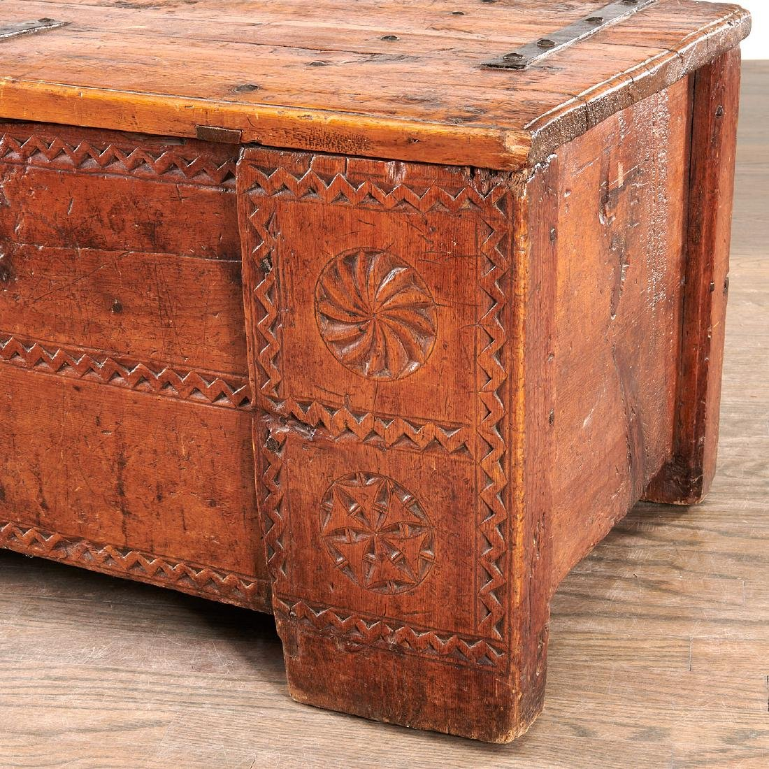 European chip carved dowery chest - 2
