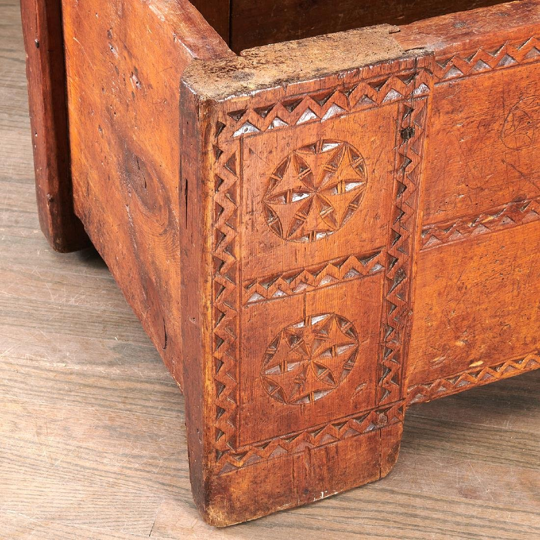 European chip carved dowery chest - 5