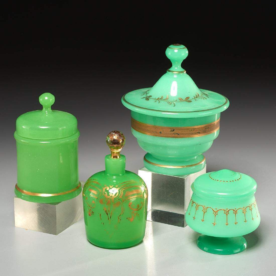 (4) Green opaline gilded glass lidded jars