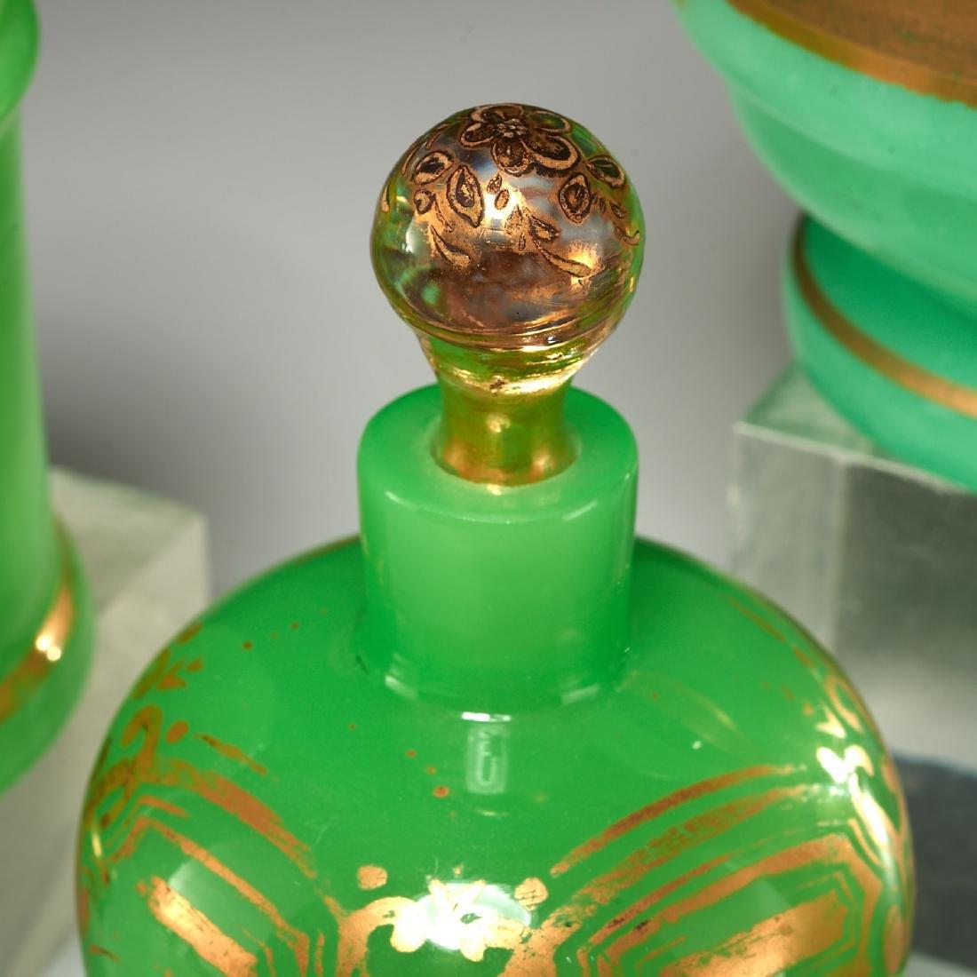 (4) Green opaline gilded glass lidded jars - 2