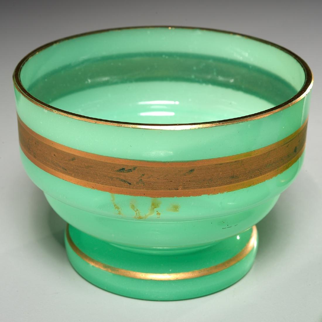 (4) Green opaline gilded glass lidded jars - 4