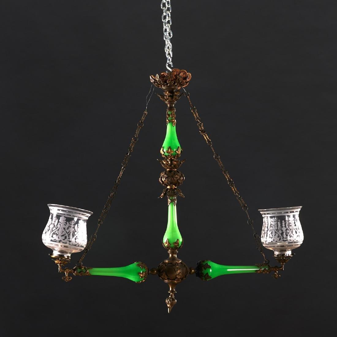 Louis Philippe green opaline glass chandelier