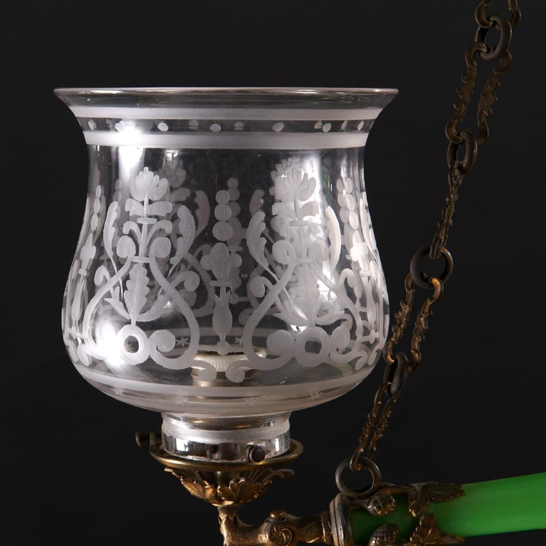 Louis Philippe green opaline glass chandelier - 2