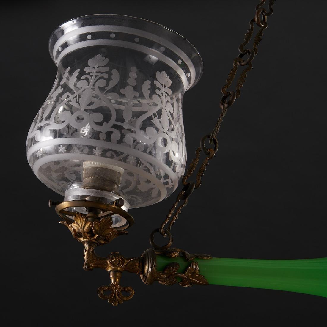 Louis Philippe green opaline glass chandelier - 3