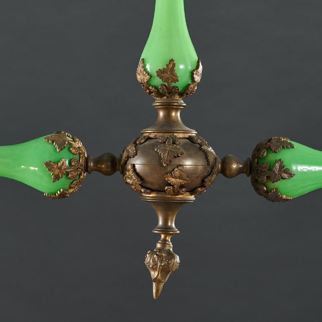 Louis Philippe green opaline glass chandelier - 4