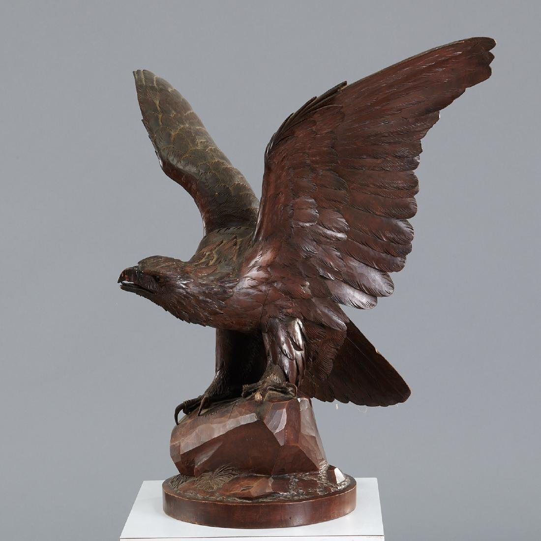 Near life-size carved Black Forest eagle sculpture