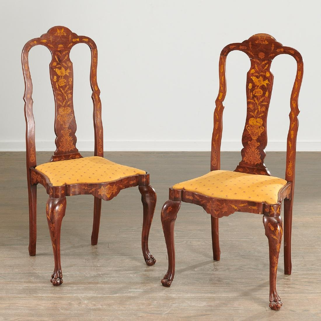 Pair Dutch marquetry side chairs