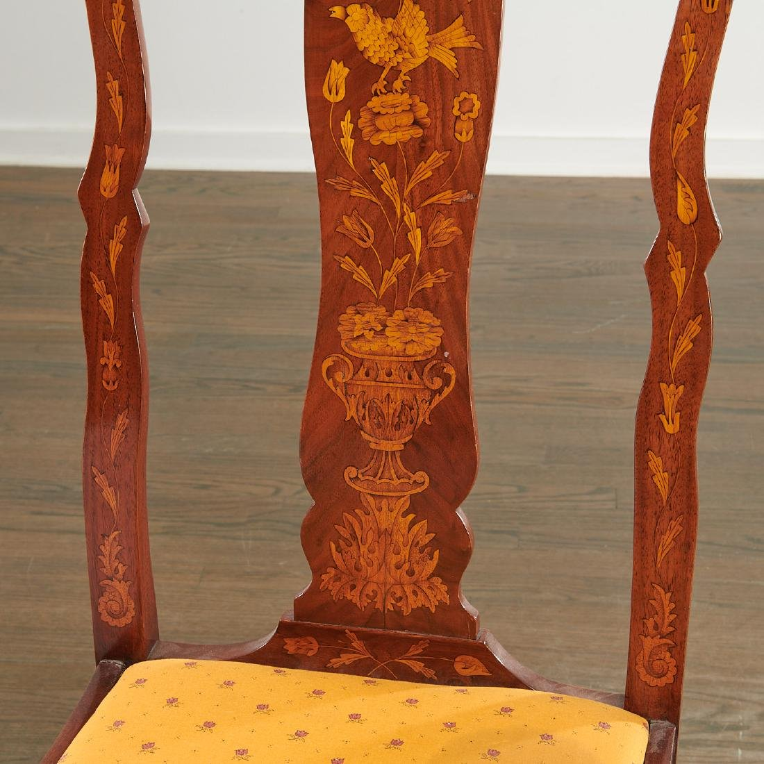 Pair Dutch marquetry side chairs - 3