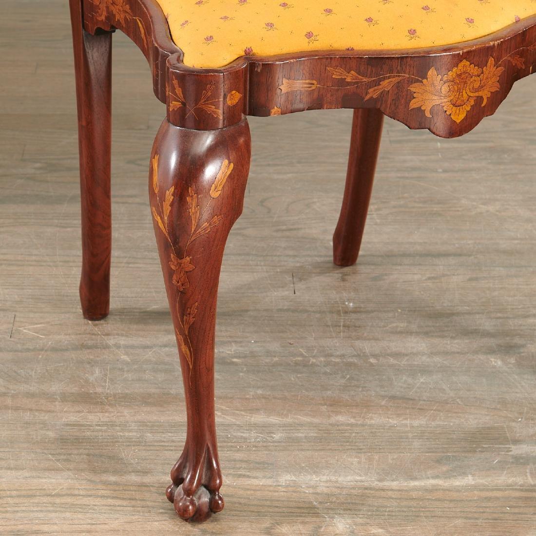 Pair Dutch marquetry side chairs - 4