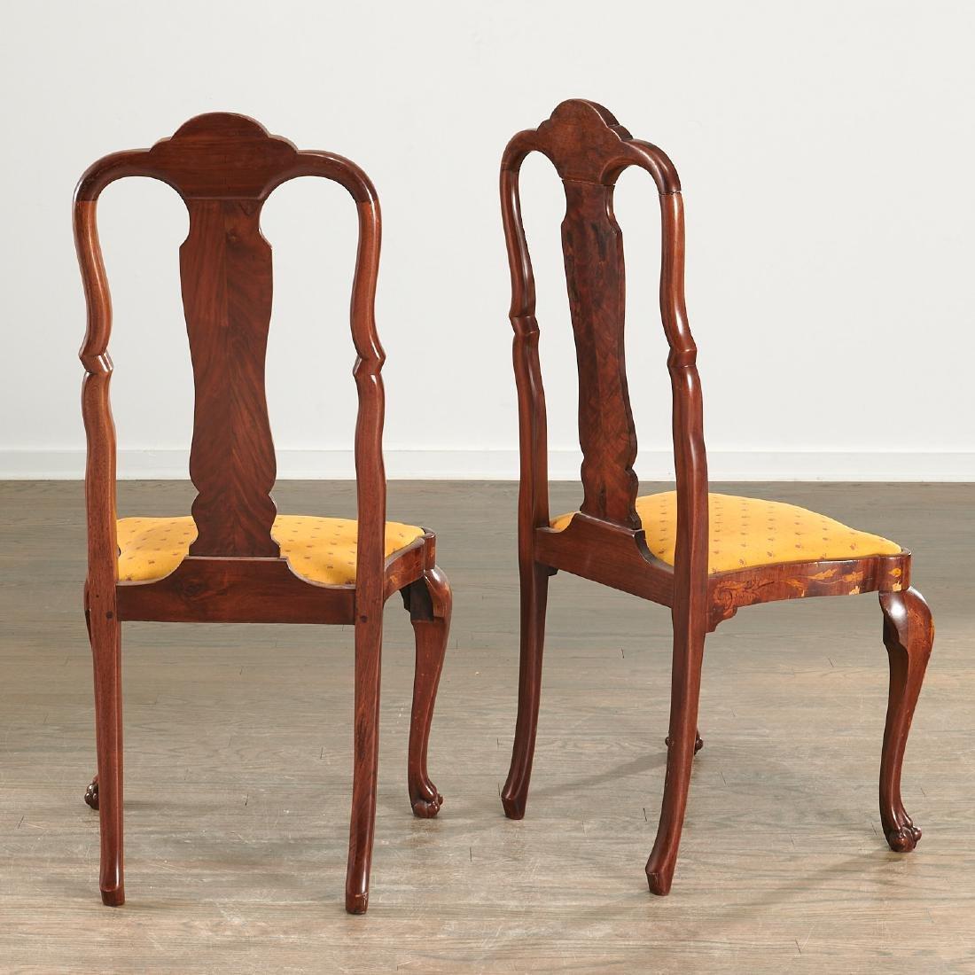 Pair Dutch marquetry side chairs - 6