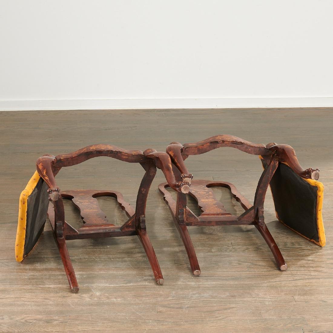 Pair Dutch marquetry side chairs - 9