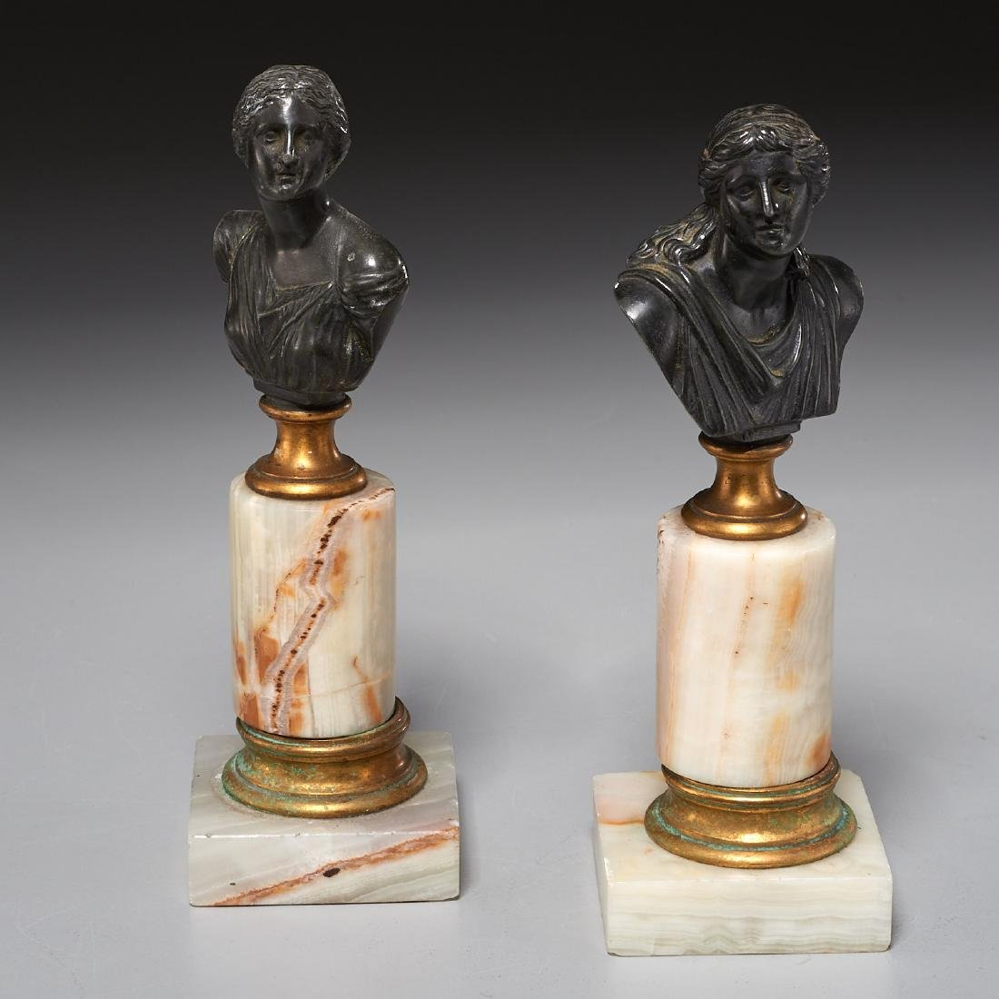 (2) Grand Tour bronze cabinet busts