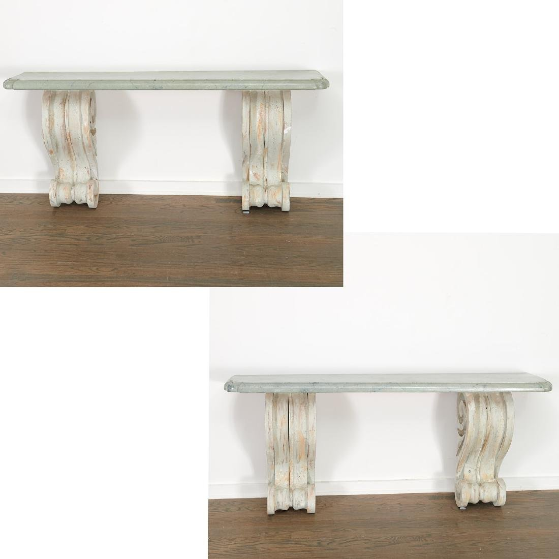 Pair Neo-Classical volute bracket consoles
