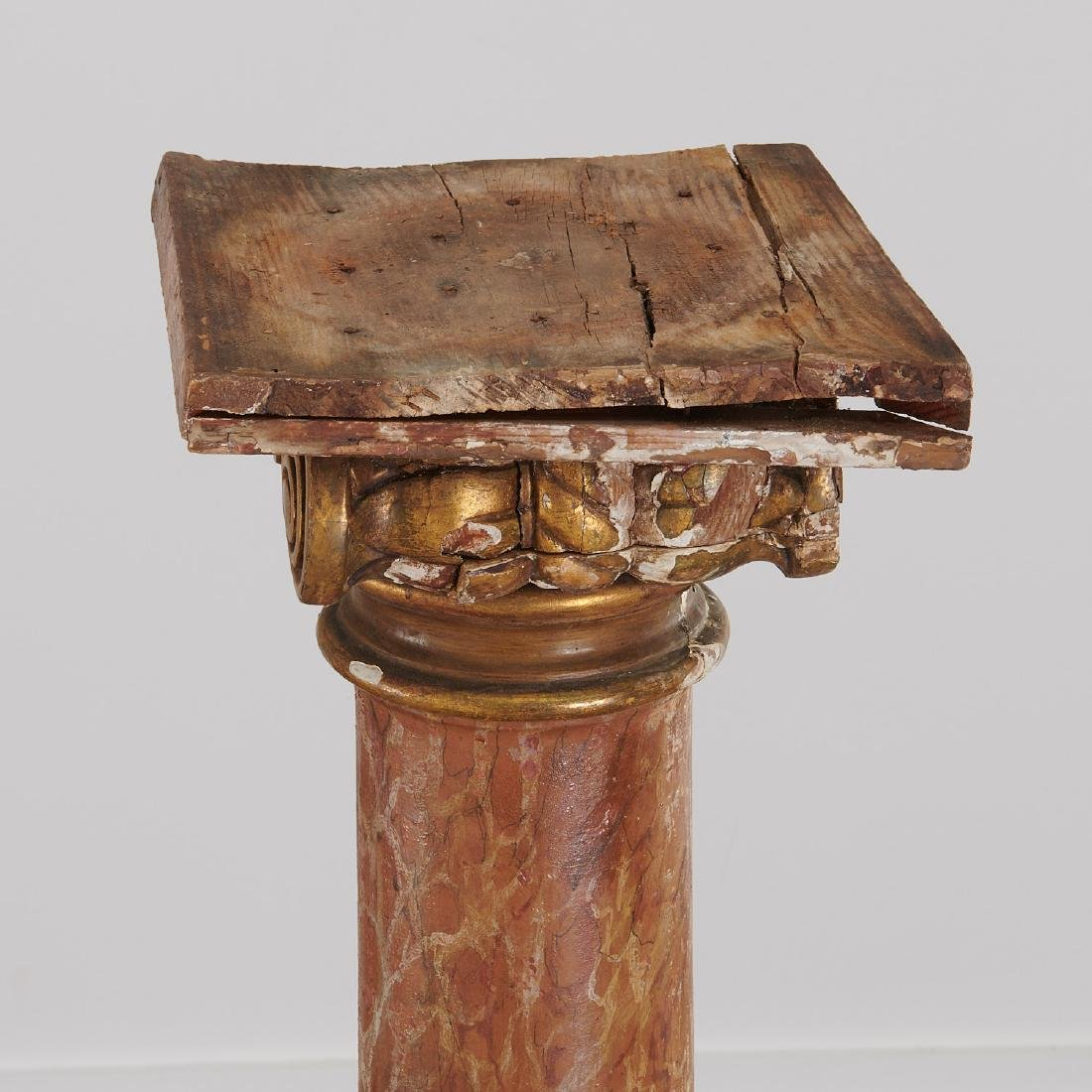 Pair marbleized Ionic column pedestals - 10