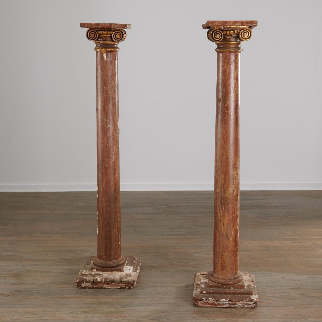 Pair marbleized Ionic column pedestals