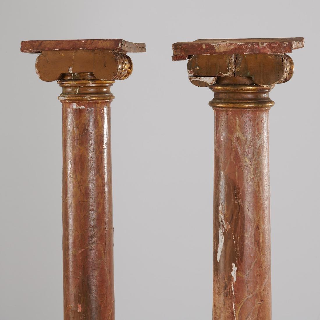 Pair marbleized Ionic column pedestals - 6